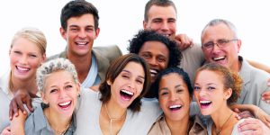 Excited young business people against white background